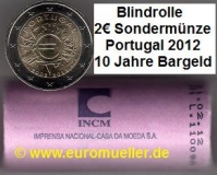 Rolle 2 Euro Sondermünze Portugal 2012 Bargeld Blindrolle