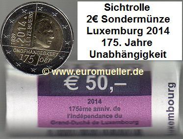 rolle 2 euro sonderm nze luxemburg 2014 unabh ngigkeit. Black Bedroom Furniture Sets. Home Design Ideas
