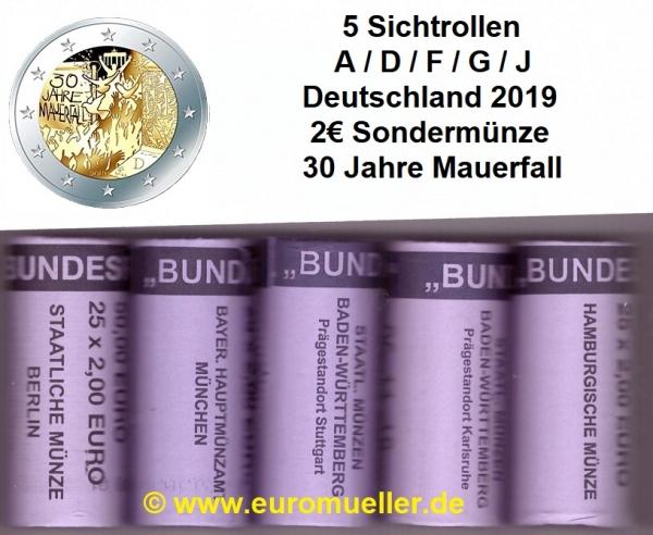 5x rolle 2 euro sonderm nze deutschland 2019 mauerfall. Black Bedroom Furniture Sets. Home Design Ideas